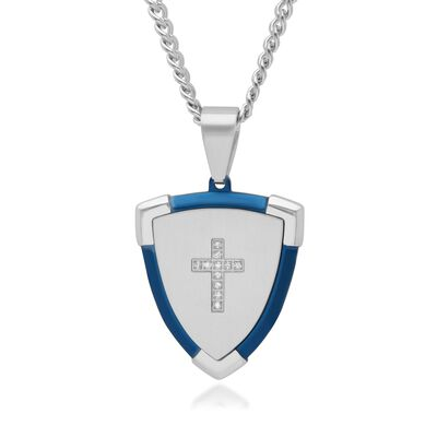Men's Blue and White Stainless Steel Cross Shield Pendant Necklace with Diamond Accents, , default