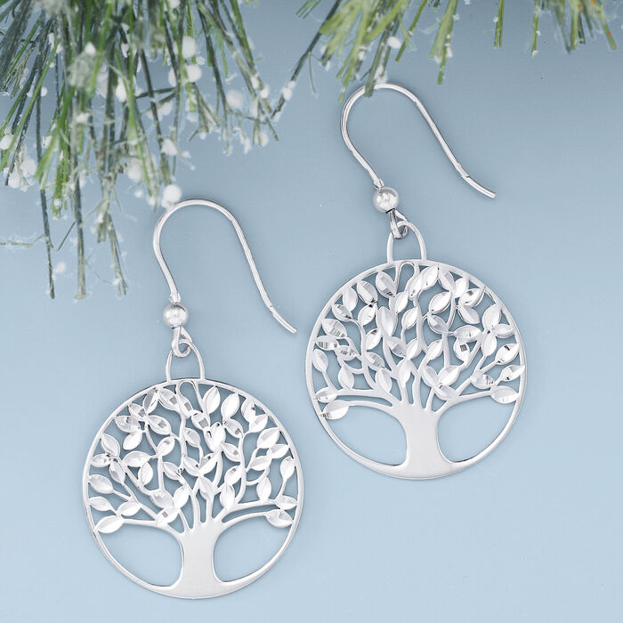 Italian Sterling Silver Diamond-Cut and Polished Tree of Life Drop Earrings