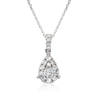 .50 ct. t.w. Diamond Teardrop Pendant Necklace in 14kt White Gold, , default