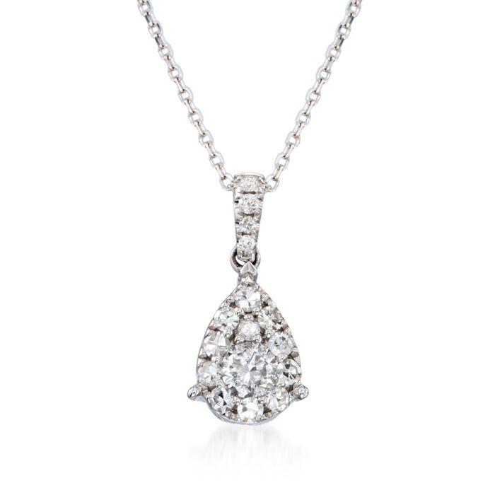 ".50 ct. t.w. Diamond Teardrop Pendant Necklace in 14kt White Gold. 18"""