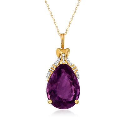 C. 1970 Vintage 44.30 Carat Amethyst and .40 ct. t.w. Diamond Pendant Necklace in 14kt Yellow Gold, , default