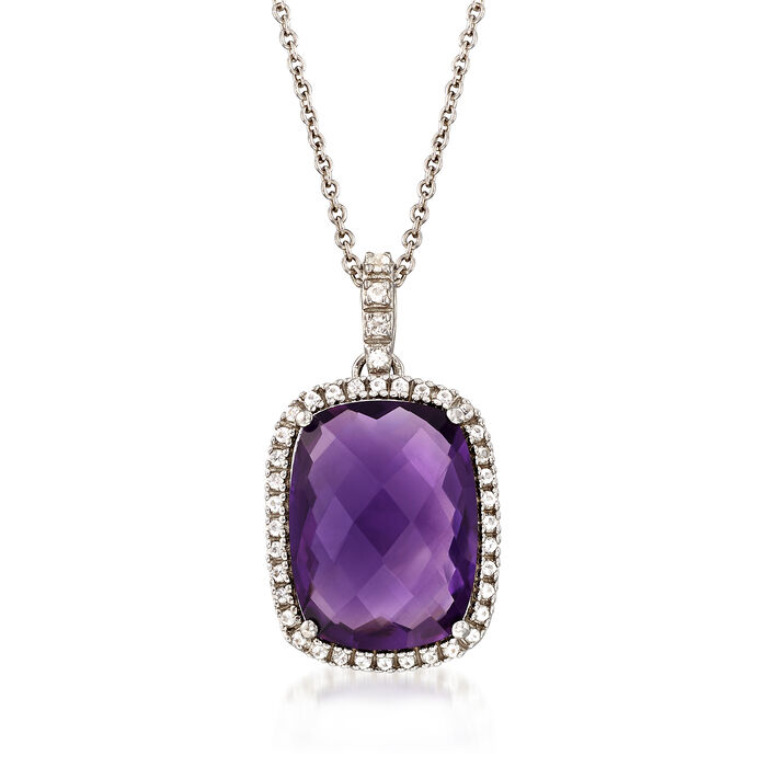 8.50 Carat Cushion-Cut Amethyst and .16 ct. t.w. White Topaz Pendant Necklace in Sterling Silver, , default