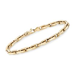 Men's 14kt Yellow Gold Oval-Link Bracelet, , default