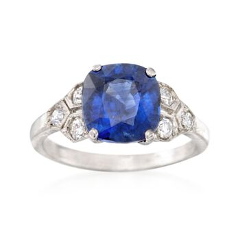 C. 1990 Vintage 3.46 Carat Sapphire and .35 ct. t.w. Diamond Ring in Platinum. Size 5.25, , default