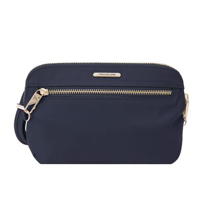 "Travelon ""Anti-Theft Tailored"" Sapphire-Blue Nylon Twill Crossbody Clutch"