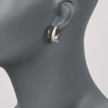 """Roberto Coin 2.60 ct. t.w. Black and White Diamond Hoop Earrings in 18kt White Gold. 5/8"""", , default"""