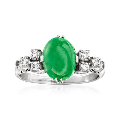 C. 1970 Vintage Jade and .20 ct. t.w. Diamond Ring in Platinum