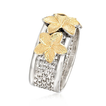 Sterling Silver and 14kt Yellow Gold Floral Bismark-Link Ring, , default