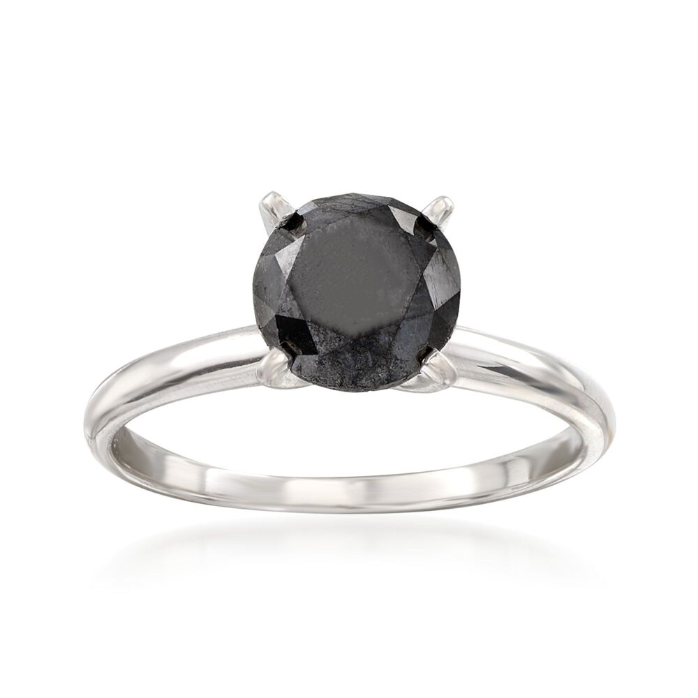 2 00 Carat Black Diamond Solitaire Ring In 14kt White Gold Default