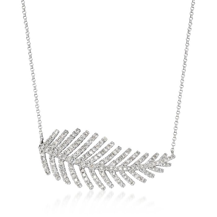 "1.00 ct. t.w. Diamond Feather Necklace in 14kt White Gold. 15.5"", , default"