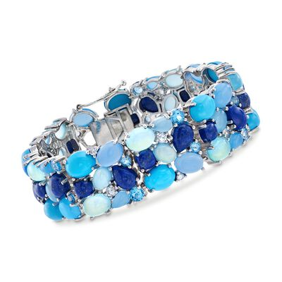 Blue and White Multi-Stone Cluster Bracelet in Sterling Silver, , default