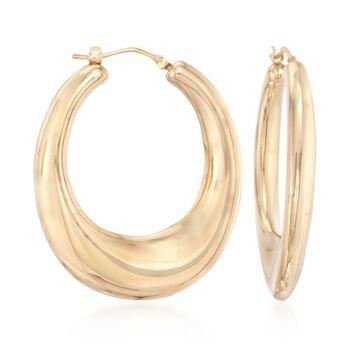 """Italian Andiamo 14kt Yellow Gold Hoop Earrings. 1 1/2"""", , default"""