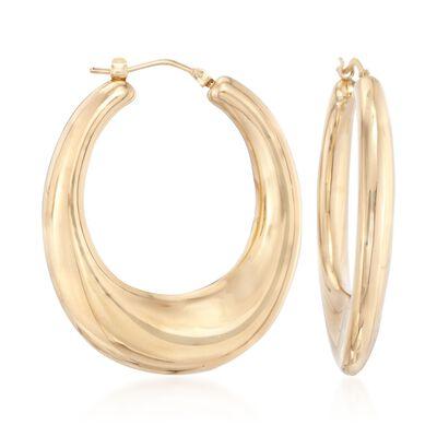 Italian Andiamo 14kt Yellow Gold Hoop Earrings, , default