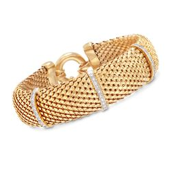 Italian .15 ct. t.w. Diamond Bar Mesh Bracelet in 18kt Yellow Gold Over Sterling , , default