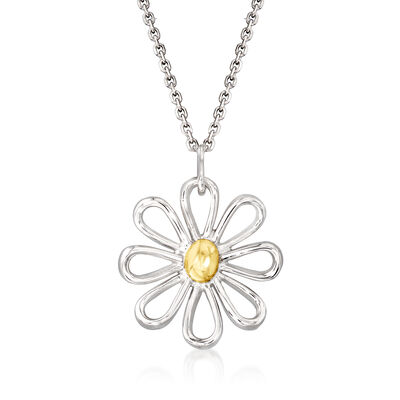 Flower Pendant Necklace in Sterling Silver and 14kt Yellow Gold