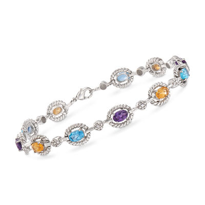 4.62 ct. t.w. Multi-Gem Bracelet in Sterling Silver, , default