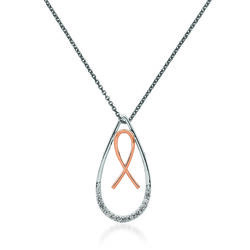 "Diamond-Accented Breast Cancer Awareness Ribbon in Teardrop Pendant Necklace in 14kt Two-Tone Gold. 18"", , default"