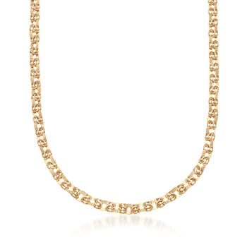 14kt Yellow Gold Mixed Link Necklace, , default