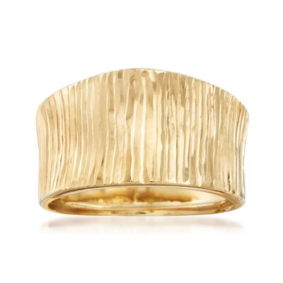 Italian 18kt Yellow Gold Diamond-Cut Striped Ring, , default
