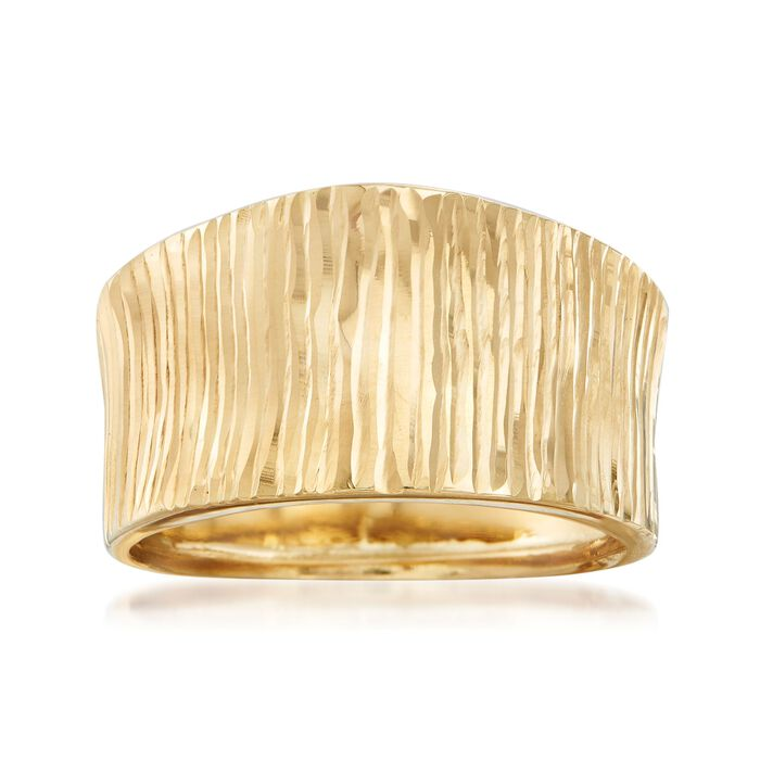 Italian 18kt Yellow Gold Diamond-Cut Striped Ring, , default