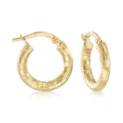 "18kt Yellow Gold Textured Hoop Earrings. 5/8"", , default"