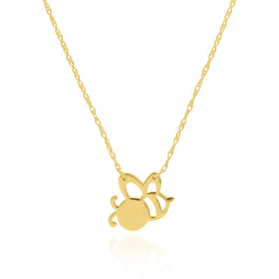 14kt Yellow Gold Cut-Out Bee Necklace