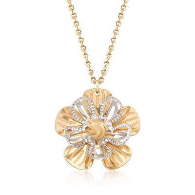 Italian Flower Necklace in 14kt Two-Tone Gold, , default