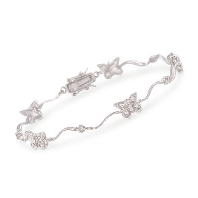 .60 ct. t.w. CZ Butterfly Bracelet in Sterling Silver, , default