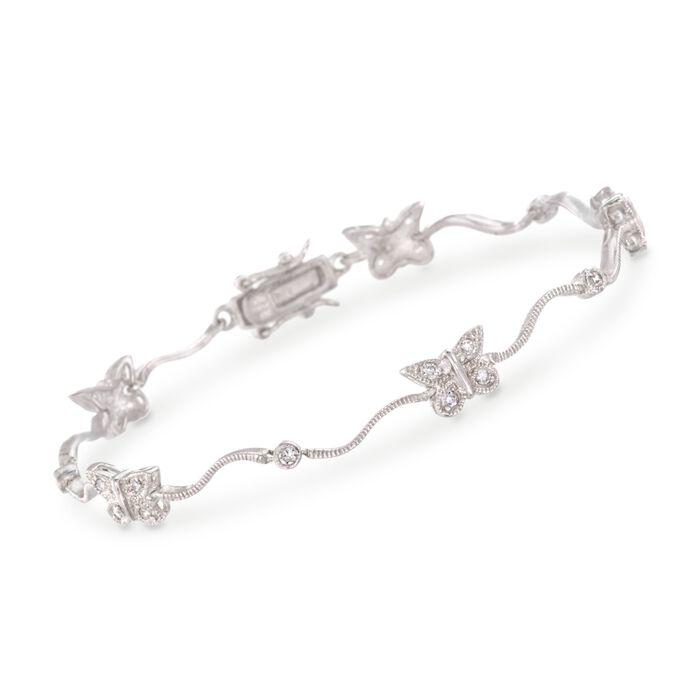 """.60 ct. t.w. CZ Butterfly Bracelet in Sterling Silver. 7.5"""", , default"""