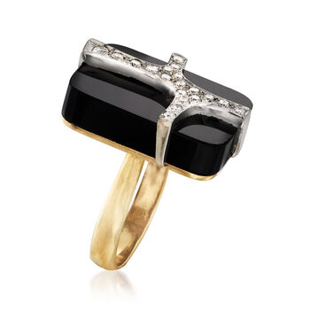 C. 1970 Vintage Black Onyx and .50 ct. t.w. Diamond Ring in 14kt Yellow Gold. Size 9, , default