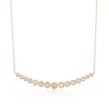 "1.00 ct. t.w. Bezel-Set Diamond Curve Necklace in 14kt Yellow Gold. 16"", , default"