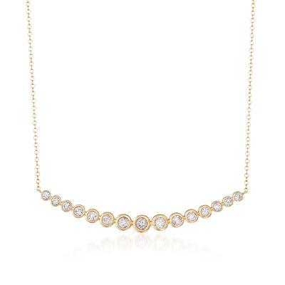 1.00 ct. t.w. Bezel-Set Diamond Curve Necklace in 14kt Yellow Gold, , default