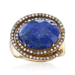Lapis and .59 ct. t.w. Champagne Diamond Ring in 18kt Gold Over Sterling, , default