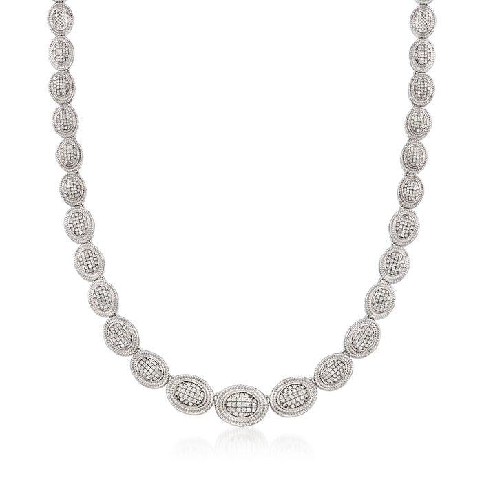 2.00 ct. t.w. Pave Diamond Graduated Oval Necklace in Sterling Silver