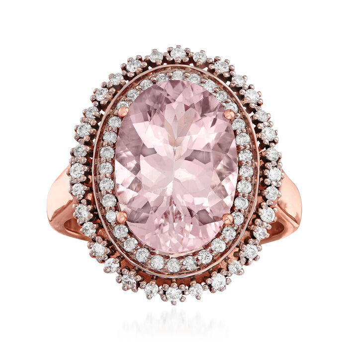 4.80 Carat Morganite and .43 ct. t.w. Diamond Ring in 14kt Rose Gold. Size 7, , default