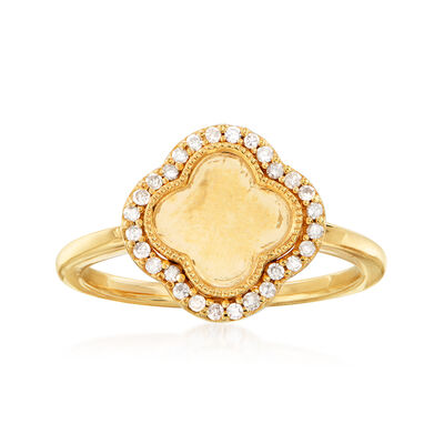 .15 ct. t.w. Diamond Clover Ring in 18kt Gold Over Sterling