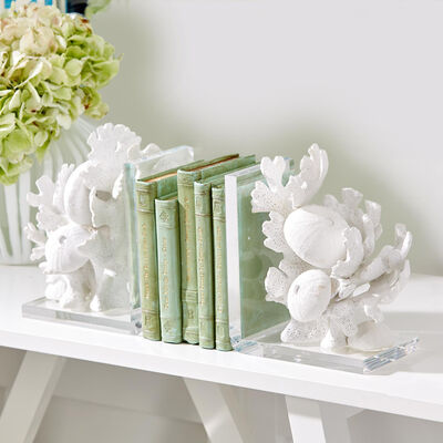 Set of Two White Coral Sculpture Bookends, , default