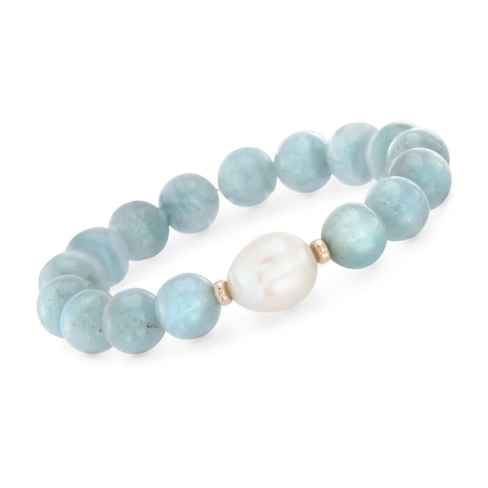 12-13mm Cultured Baroque Pearl and Milky Aquamarine Stretch Bracelet with 14kt Yellow Gold, , default