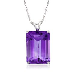 "12.00 Carat Amethyst Pendant Necklace in Sterling Silver. 18"", , default"