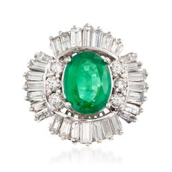 C. 1980 Vintage 3.65 Carat Certified Emerald and 2.70 ct. t.w. Diamond Ring in 14kt White Gold, , default