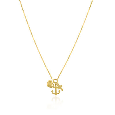 14kt Yellow Gold Heart, Anchor and Cross Charm Necklace