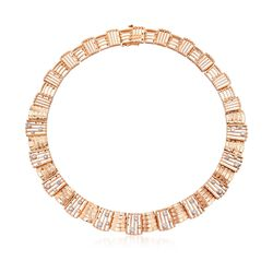 "C. 1990 Vintage 1.65 ct. t.w. Diamond Collar Necklace in 14kt Rose Gold. 16"", , default"