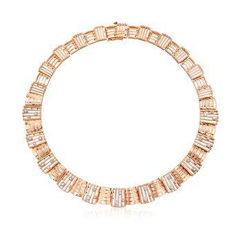 "C. 1990 Vintage 1.65 ct. t.w. Diamond Collar Necklace in 14kt Rose Gold. 16"", , default"