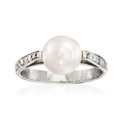 C. 1980 Vintage 8.5mm Cultured Pearl and .30 ct. t.w. Diamond Ring in 18kt White Gold, , default