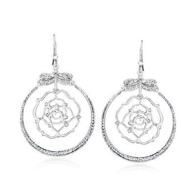 Sterling Silver Openwork Rose and Dragonfly Drop Earrings, , default
