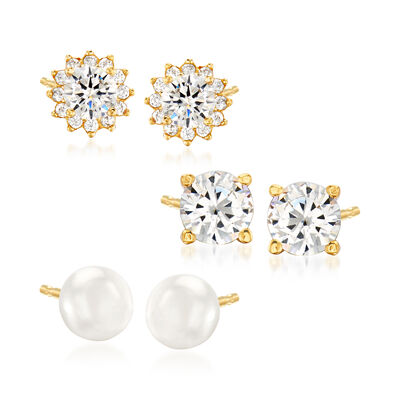 5mm Cultured Pearl and 1.90 ct. t.w. CZ Jewelry Set: Three Pairs of Stud Earrings in 18kt Gold Over Sterling
