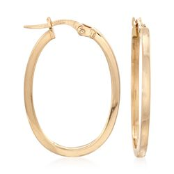 Roberto Coin 18kt Yellow Gold Small Oval Hoop Earrings, , default