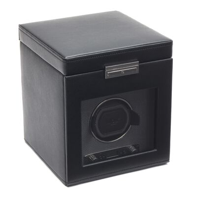 """Viceroy"" Black Faux Leather Single Watch Winder with Storage by Wolf Designs, , default"