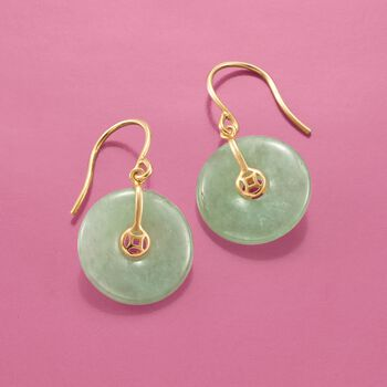 15mm Jade Drop Earrings in 18kt Gold Over Sterling, , default