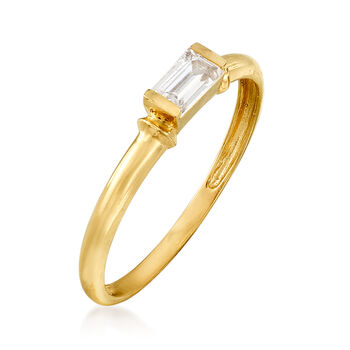 .30 Carat Baguette CZ Solitaire Ring in 14kt Yellow Gold, , default